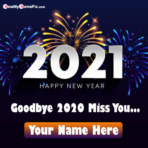write name on 2021 happy new year wishes greeting card