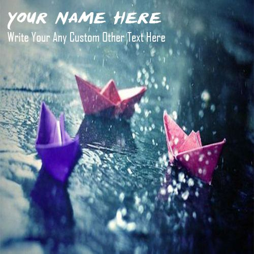 Rain water drops with paper ship profile with name pictures
