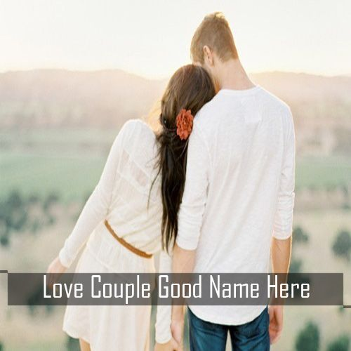 Romantic love couple hands holding profile image with name