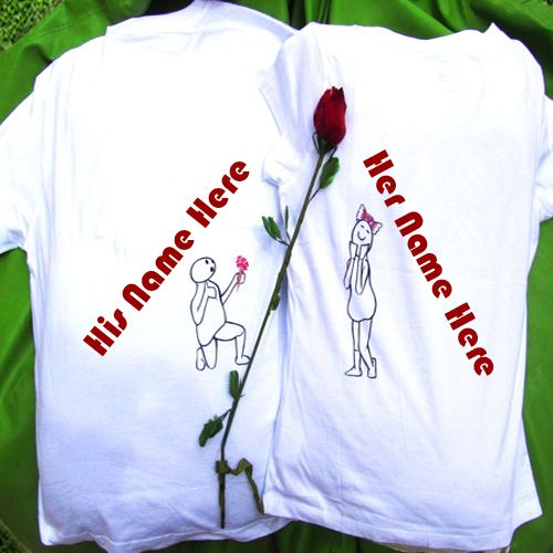 Couple Name Print On Love Red Rose T- Shirts Pictures - Couple Name Pics