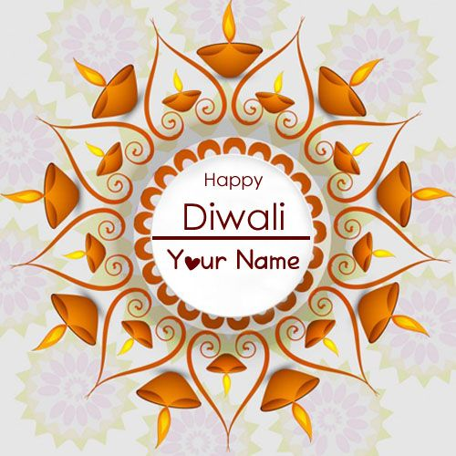 Print Name On Diwali Candles Greeting Cards Image