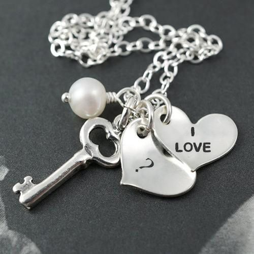 Silver love heart pendant on alphabet your name letter pictures