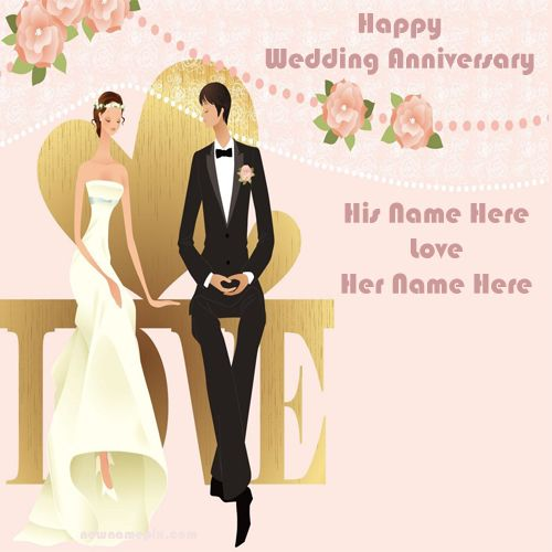 Best Love Happy Anniversary Couple Name Wish Card - Online Create Cards