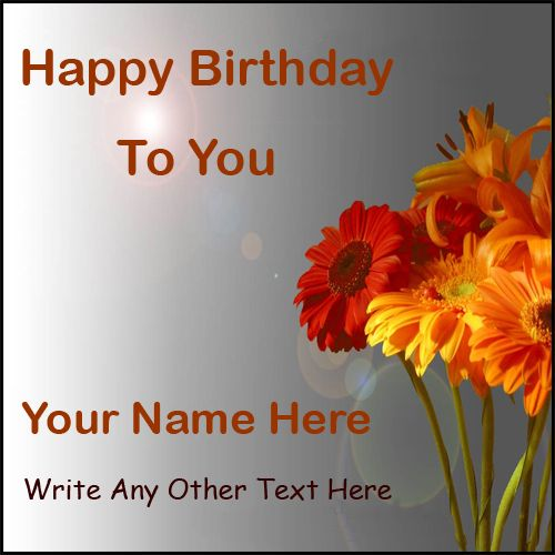 Write name on birthday wishes flower greeting card image