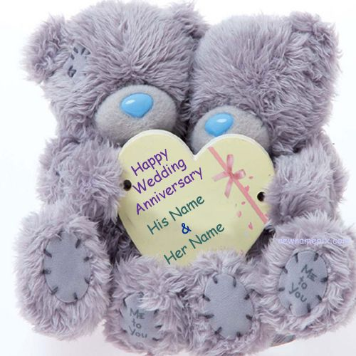 Couple Teddy Anniversary Wish Card On Name Pictures - Name Profile Pic