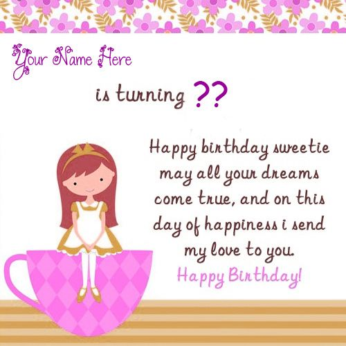Birthday greeting card for cute little girl name with age wishes image create