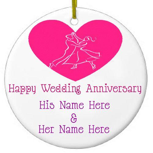 Wedding Anniversary Best Name Write Card Send - NameAnniversaryCake