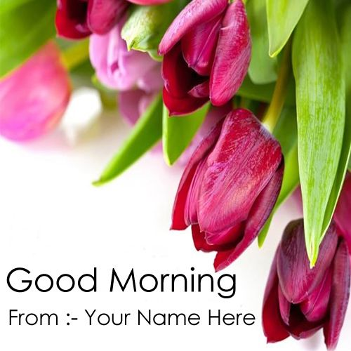 Red flowers good morning wishes greeting with name images download