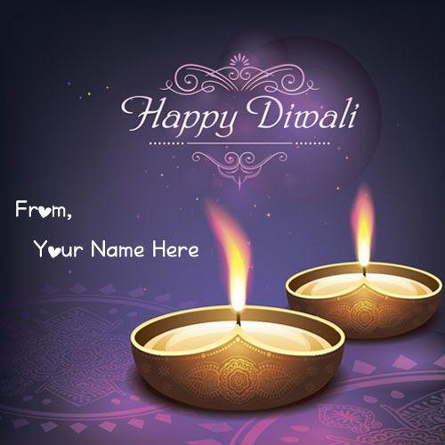 Write Your Name Happy Diwali Wishes Candles Cute Images - Create Card