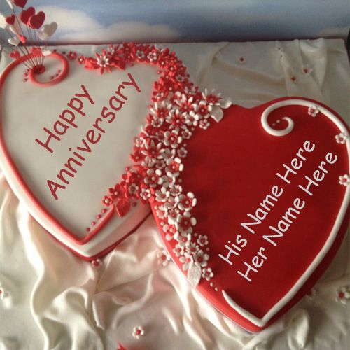 Happy anniversary heart shaped cake with name couple pictures creative