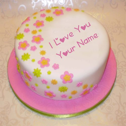 Write name on I Love You Cake profile pictures online create free