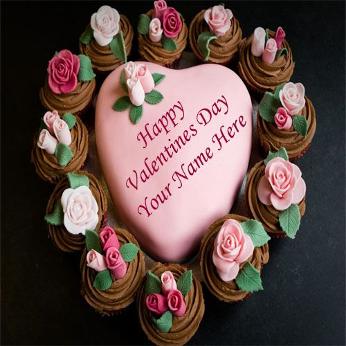 Valentines day rose decorated heart cake name pictures create free