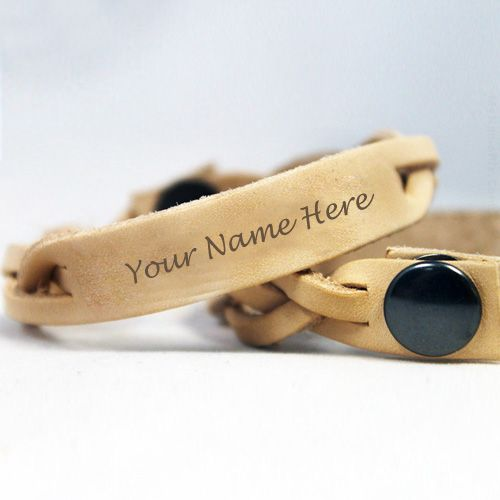 Brown leather hand bracelet your name profile picture create online