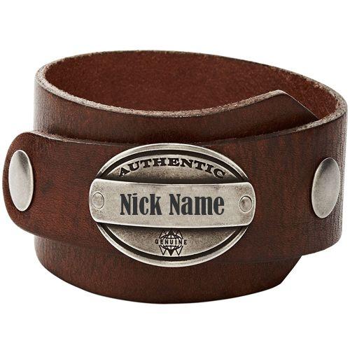 Brown leather hand bracelet for men name image download free