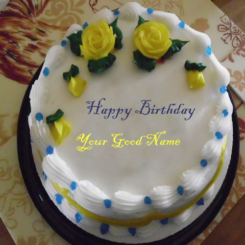 Make your name on beautiful flowers birthday cake wishes profile pictures