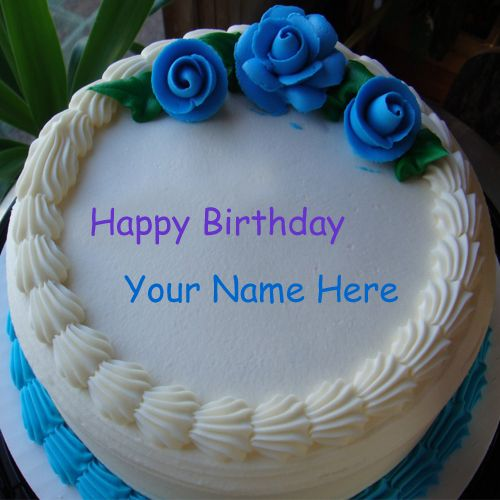 Happy birthday cake with my name nice rose decoration pictures creative online