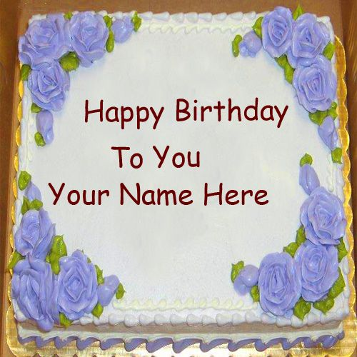 Beautiful rose decoration birthday cake with name pix create