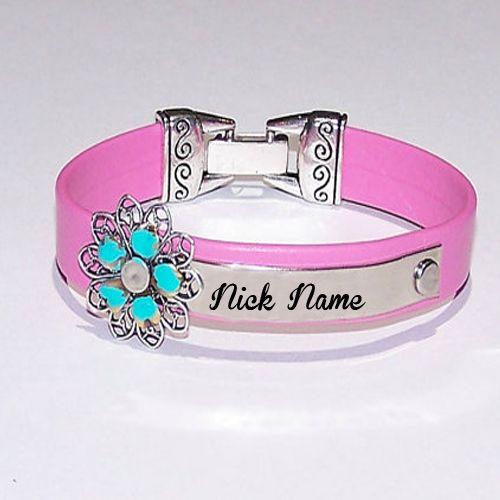 Girl flower pink hand bracelet on name profile photo creator online