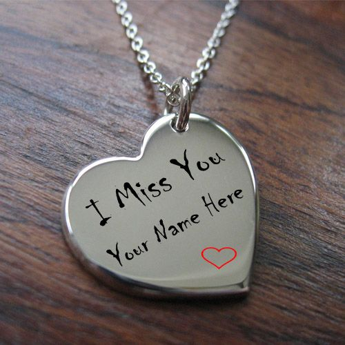 i miss you silver heart pendant chain with my name picture
