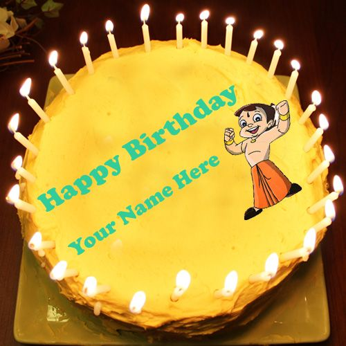 Kids birthday wishes Chota Bheem Cake profile images with name