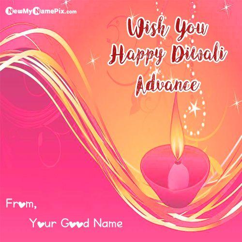 Happy Diwali In Advance Wish Card Name Write Download