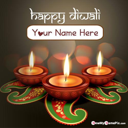 Unique Diwali Greeting Image With Name Wishes Card