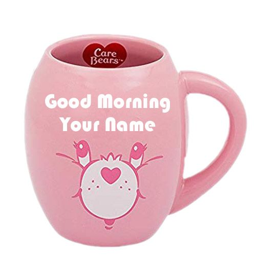 Morning cup love heart on write name wishes pictures online send