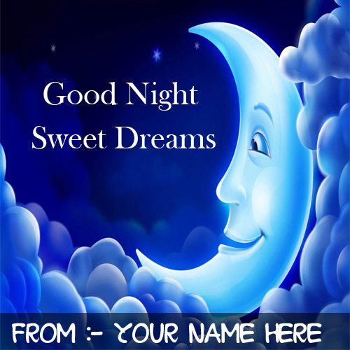 Beautiful smile moon wish good night special name pictures create online