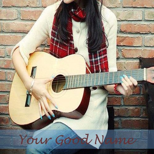 Beautiful Girl With Guitar Name Picture - Cute Girl Profile