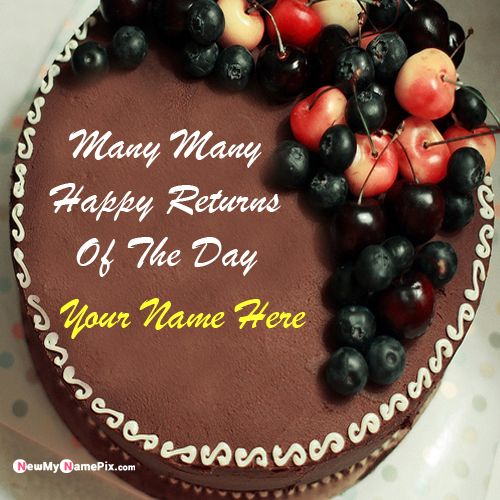 Chocolate happy birthday cake wishes pictures with name write