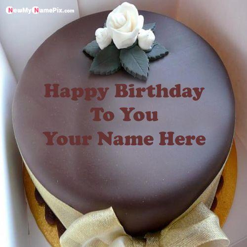 Chocolate Cake With White Rose Name Picture - Create Name Pics