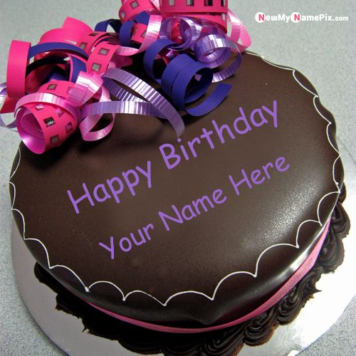 Chocolate round birthday cake dp with name wishes picture - birthday name cake