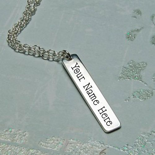Personalized silver vertical bar necklace with name write profile picture