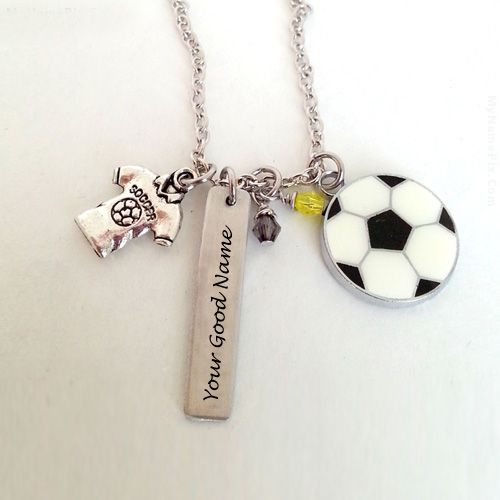 Silver football necklace with name picture download profile