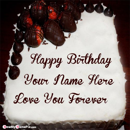 Chocolate strawberry birthday wishes name cake pictures download