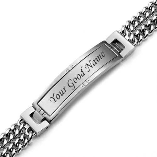 Silver hand bracelet with boy name write picture create online