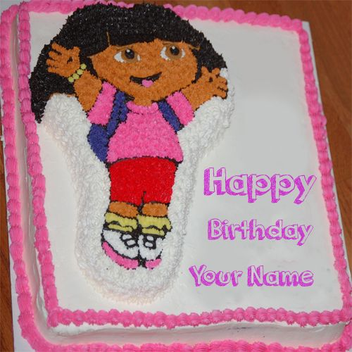 Dora cartoon kids happy birthday cake name wishes pictures create