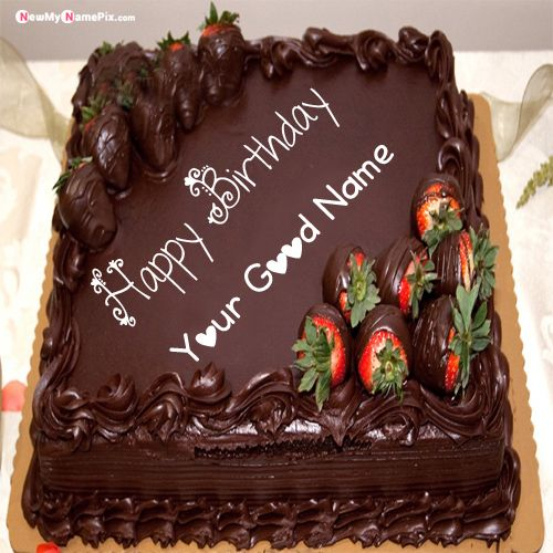 Girlfriend birthday wish chocolate strawberry cake image with name