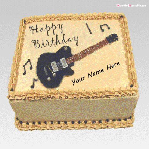 Happy Birthday Cake With Music Guitar Wish Name Picture - NameBirthdayPic