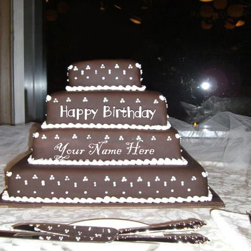 Beautiful layered chocolate birthday wishes cake on your name pix - name create cakes