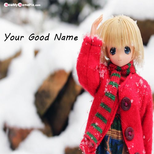 Cute Dolls In Snow DP Name Profile Pictures - Name Profile Image
