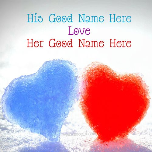 Blue And Red Snow Heart Lovely Couple Name Pictures - Name Profile Free