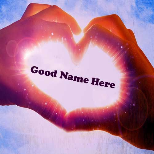 Hand Finger Shape Love Heart In Sunlight Name Picture - Name Love Pix