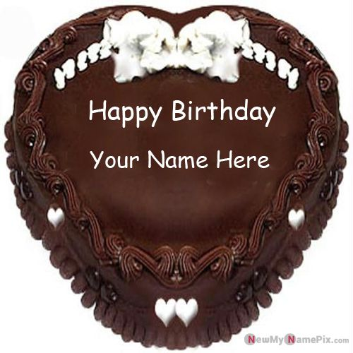 Happy birthday chocolate heart cake with name wishes picture