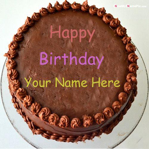 Happy birthday wishes chocolate cake with name photo