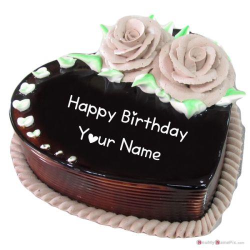 Write name on heart shape chocolate birthday wishes cake image