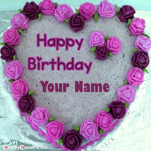Beautiful heart shaped birthday wishes cake with name pic send