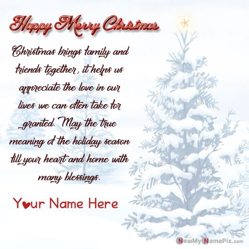 Merry Christmas Greeting Card With Name Pictures Create Free Download - NewMyNamePix