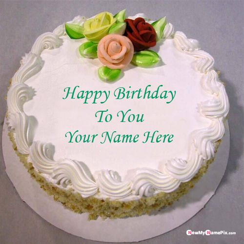 Rose decoration beautiful happy birthday cake with name create