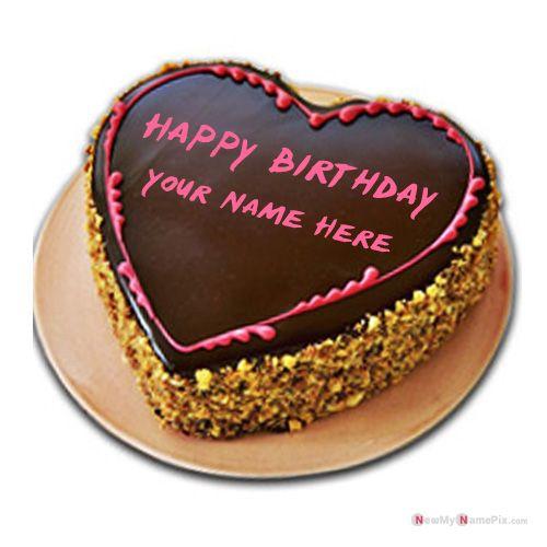 Heart birthday chocolate cake with name edit - profile photo create